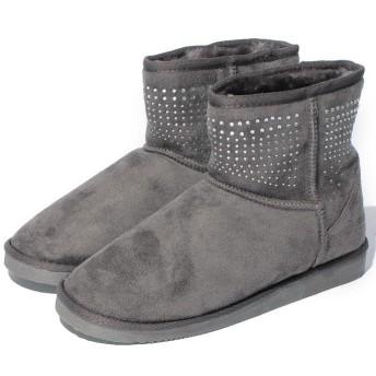 【40%OFF】 シュークロ GINGERコラボ ラインストーンムートンブーツ レディース グレー XS 【Shoes in Closet】 【セール開催中】