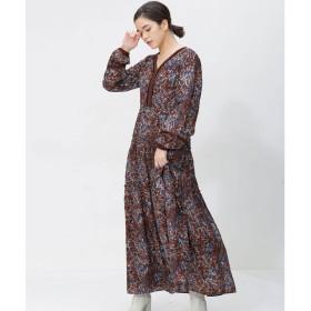 nano・universe NE QUITTEZ PAS/別注COTTON ETHNIC PRINT DRESS(ブラウン)