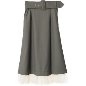 トランテアン ソン ドゥ モード 裾チュールツイルカーゴスカート(カーキ)
