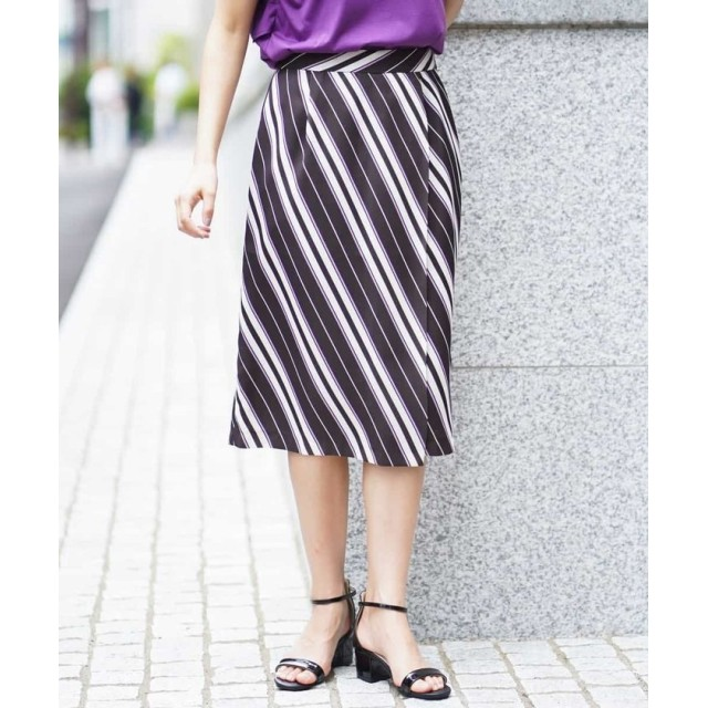 【58%OFF】 アー・ヴェ・ヴェ ストライプラップスカート[WEB限定サイズ] レディース ブラウン XS 【a.v.v】 【セール開催中】