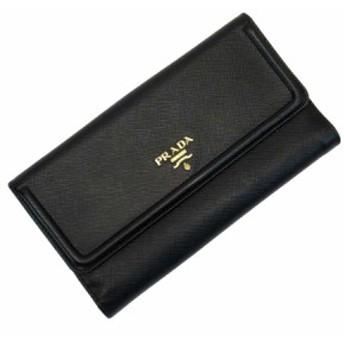 【定番人気】【中古】プラダ Wホック二つ折り長財布 レディース メンズ ブラックxゴールド 50320