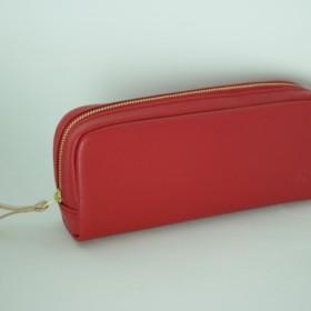 柔らかなポーチ ホースレザー ペンケース レッド 化粧ポーチ 赤 馬革