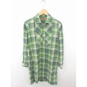 【中古】オムニゴッド OMNIGOD ワンピース シャツ 膝下丈 チェック 綿 コットン 長袖 2 緑 紺 グリーン ネイビー