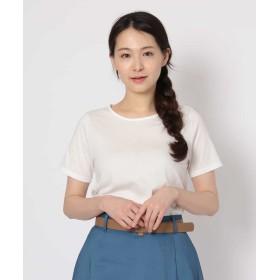 【25%OFF】 オフオン コットンプリントTシャツ レディース ホワイト L 【OFUON】 【セール開催中】