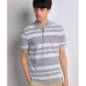 【50%OFF】 ラコステ スリムフィットボーダーポロシャツ(半袖) メンズ グレー M 【LACOSTE】 【セール開催中】