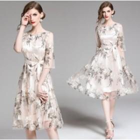 【送料無料】 大輪の花柄刺繍がエレガントなワンピースドレス パーティードレス 結婚式 ドレス 披露宴 二次会 卒業式 ワンピース