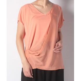 【70%OFF】 アルカリ T/R天竺ドレープアシメントリーTシャツ レディース ピンクオレンジ F 【alcali】 【セール開催中】