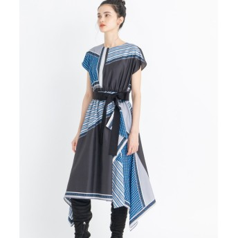 ランバンオンブルー スカーフプリントワンピース レディース スカイブルー 38 【LANVIN en Bleu】