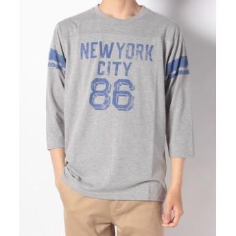 【61%OFF】 ナノ・ユニバース :BIGフットボールTシャツ7S メンズ グレー S 【nano・universe】 【タイムセール開催中】