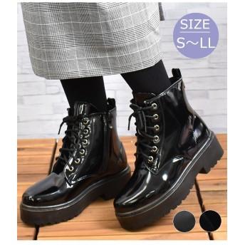 【20%OFF】 シュークロ エナメルレースアップショートブーツ レディース ブラック/エナメル S 【Shoes in Closet】 【セール開催中】