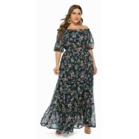 パーティドレス・ブライズメイド マンマVネックカクテルプラスサイズの夏プリントビーチスカートパーティーウエディングドレス
