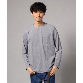 EDIFICE ボーダークルーネック ポケットロングTシャツ ホワイト M