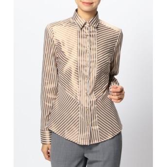 【50%OFF】 ナラカミーチェ ミラノストライプ切り替えシャツ レディース ブラウン系 0 【NARA CAMICIE】 【セール開催中】