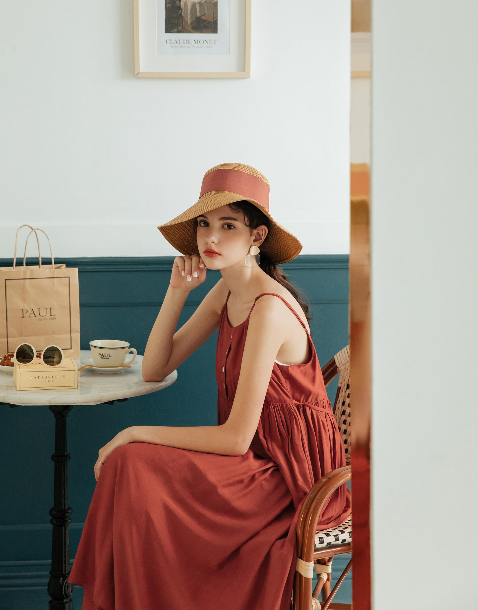 PAZZO+小法國夏日渡假排釦細肩長洋裝