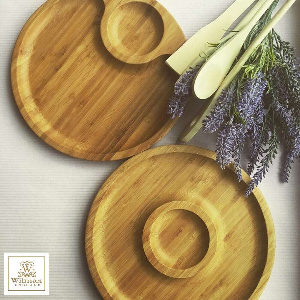 英國 wilmax竹製圓形分隔餐盤/輕食盤超值組 30.5cm