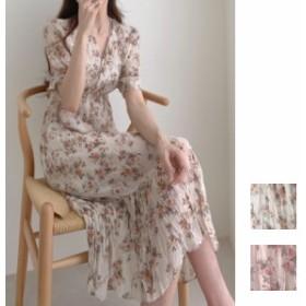 韓国 ファッション レディース ワンピース 夏 春 カジュアル naloG017 シワ加工 シフォン カシュクール Vネック カジュアル リゾートドレ