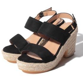 【57%OFF】 シュークロ ジュートバックストラップ&ウェッジソールサンダル レディース ブラック M 【Shoes in Closet】 【セール開催中】