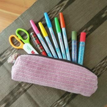 タイの草木染め&手織りミニポーチ ピンク ボーダー(送料無料、ペンケース)