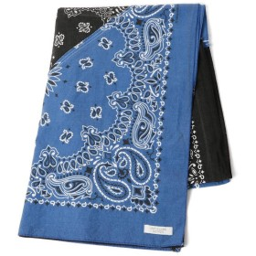 【50%OFF】 ビームス アウトレット INFIELDER DESIGN / Bandana Stole メンズ BLK×BLUE ONE SIZE 【BEAMS OUTLET】 【セール開催中】