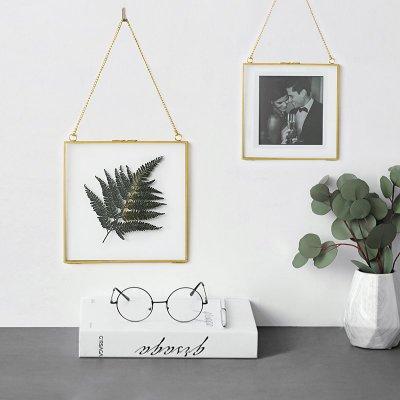 簡約金邊黃銅掛框 20*15cm 牆面掛飾相框 植物標本夾 家飾 h&m 北歐ins