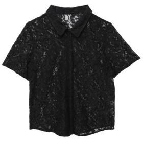 【46%OFF】 エイミーイストワール ハーフスリーブレースシャツ レディース BLACK F 【eimy istoire】 【タイムセール開催中】