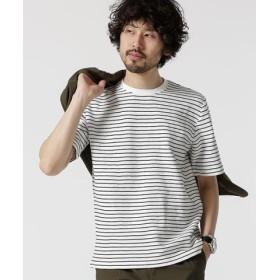 (nano・universe/ナノ・ユニバース)ジャガードボーダークルーネックTシャツ/メンズ パターン1