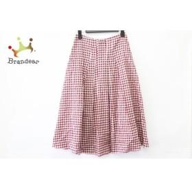ホコモモラ JOCOMOMOLA スカート サイズ40 XL レディース 美品 レッド×白 チェック柄   スペシャル特価 20191112
