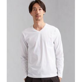 グリーンレーベルリラクシング CM オーガニック クリア Vネック 長袖 Tシャツ メンズ WHITE M 【green label relaxing】
