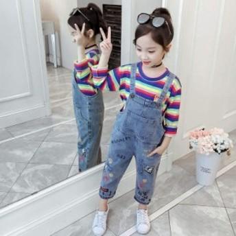 女の子 サロペット デニム 子供用 2点セット オーバーオール 長袖Tシャツ ボーダー柄 女児 サロペットパンツ ジュニア デニムサロペット