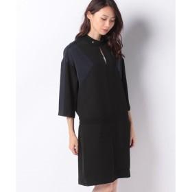 LACOSTE カラーブロッククレープドレス 七分袖