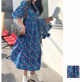 韓国 ファッション レディース ワンピース 夏 春 カジュアル naloG080 バックコンシャス リボン ノーカラー 五分袖 ギャザー ロング韓国