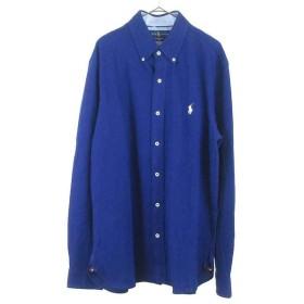 RALPH LAUREN(ラルフローレン)ポニー刺繍 ボタンダウン 鹿の子フェザーウェイトメッシュシャツ ブルー
