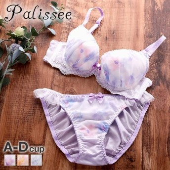(パリシェ)Palissee 水彩花柄プリント 3/4カップ ブラジャー ショーツ セット ABCD 小さいサイズ