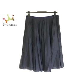 トゥモローランド TOMORROWLAND スカート サイズ38 M レディース 黒×ネイビー シルク 新着 20190805
