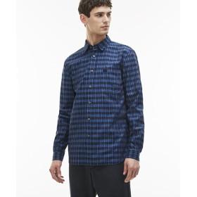 【50%OFF】 ラコステ ストライプチェックシャツ(長袖) メンズ ブルー XL 【LACOSTE】 【セール開催中】