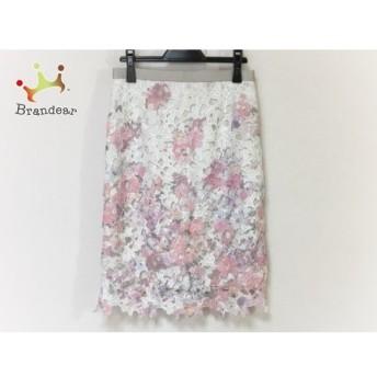 ジャスグリッティー JUSGLITTY スカート サイズ2 M レディース 美品 ピンク×白×マルチ 花柄 新着 20190804