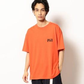 [マルイ] バックプリント 半袖クルーネックTシャツ/パープル&イエロー(Purple & Yellow)