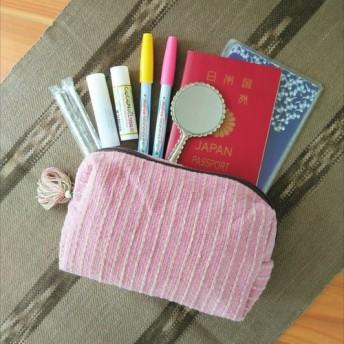タイの草木染め&手織りポーチ ピンク ストライプ(送料無料、ペンケース)