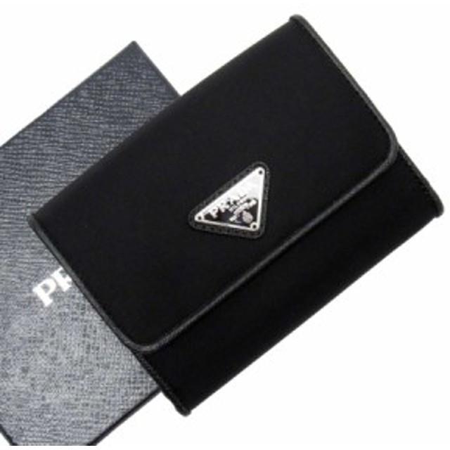 【定番人気】【中古】プラダ Wホック二つ折り財布   レディース メンズ ブラックxシルバー 50301