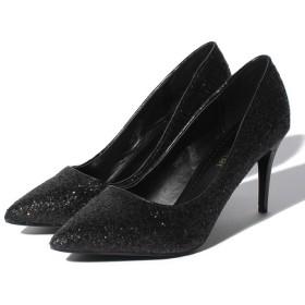 【33%OFF】 シュークロ グリッターパンプス レディース ブラック M 【Shoes in Closet】 【セール開催中】