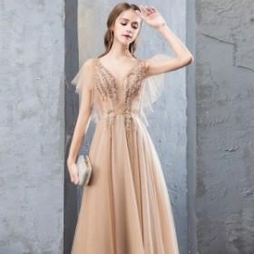 結婚式 パーティードレス 袖あり 大きいサイズ ドレス イブニングドレス レース ディープVネック 半袖 ロング丈 お呼ばれ 結婚式 披露宴