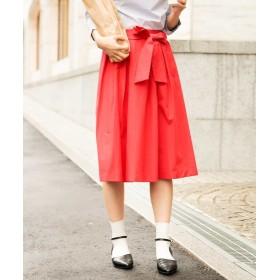 【60%OFF】 アー・ヴェ・ヴェ サッシュリボンタックフレアスカート[WEB限定サイズ] レディース レッド S 【a.v.v】 【セール開催中】