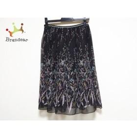 ロイスクレヨン Lois CRAYON スカート サイズM レディース 美品 黒×ライトブルー×ピンク 花柄 新着 20190804