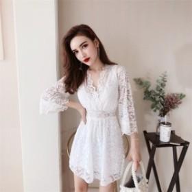 結婚式 パーティードレス 袖あり 大きいサイズ ミニドレス フレアスカート ミニワンピース 韓国 ミニワンピース セクシー ドレス ワンピ