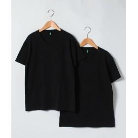 【39%OFF】 ベネトン(ユナイテッド カラーズ オブ ベネトン) VネックパックTシャツ・カットソー2枚セット メンズ ブラック L 【BENETTON (UNITED COLORS OF BENETTON)】 【タイムセール開催中】