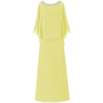 Dresstell(ドレステル) フォーマル 結婚式ドレス ドルマンスリーブ ビジュー付き ママのタイプ レディース イエロー 27W号