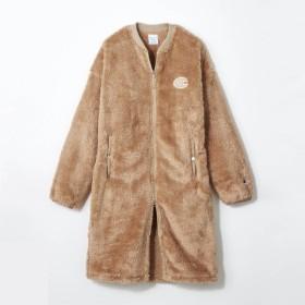 コート レディース まるで毛布!フカフカあったかロゴワッペンボアロングコート 「キャメル」
