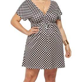 Romancly 女性デジタルプリントVネックプラスサイズビーチ着用夏中期ドレス 2 2XL