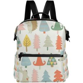リュック レディース メンズ 軽量 大容量 秋の森林動物 ツリー柄 ファスナー リュックサック pc ipad 収納 高校生 中学生 子供 旅行 山登り 遠足 アウトドア 短期出張 バッグ