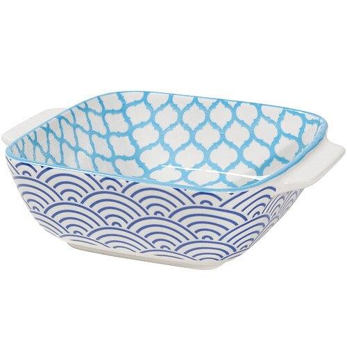 《NOW》圖騰方型深餐盤(圓弧藍15cm)